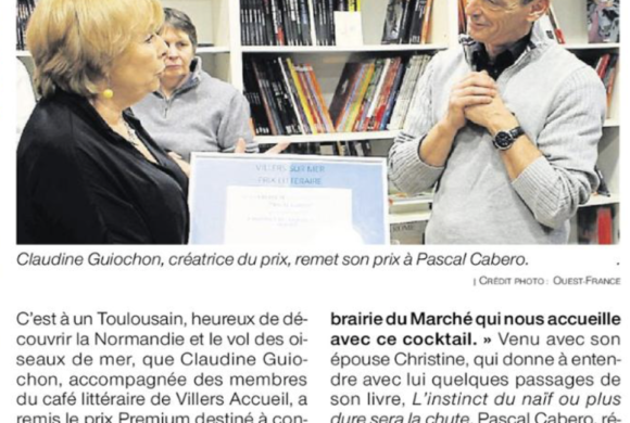 Ouest-France parle de la remise du Prix Littéraire qui a eu lieu à la librairie